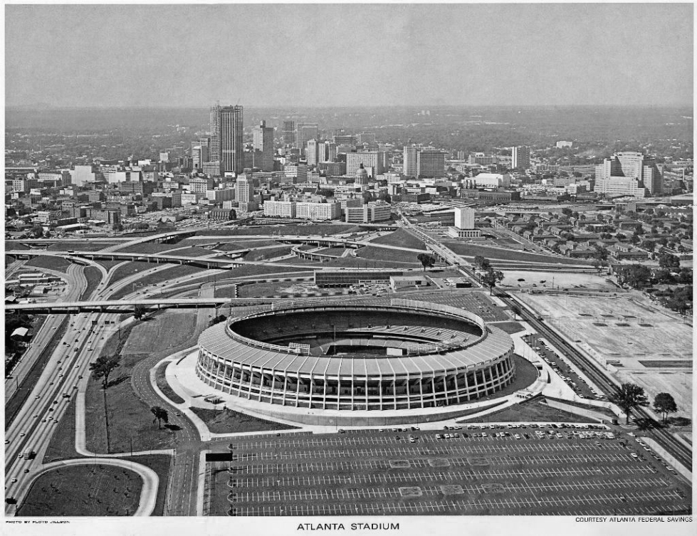 Atlanta Fulton County Stadium bw