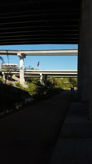 Walking under I-285.