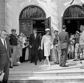 John and Jackie exit St. Edward Catholic Church